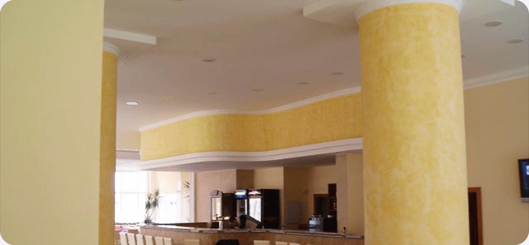 Rekonstrukce Hotel Bílá Růže - podhledy, stěny, sloupy - restaurace